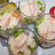 Layer lettuce, sauce, prawns, sauce