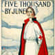 Five thousand by June Graduate nurses: your country needs you. Red Cross recruitment poster showing a nurse standing, with barracks in background.
