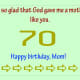 70th birthday is cool.