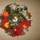 Mesh Holiday Wreath - with fruit and flowers