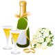 Champagne, flower bouquet and two gold wedding bands wedding clipart