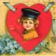 Cute kids: little boy in red heart with blue flowers