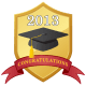 graduation scrapbook embellishment: 2013 shield with graduation hat