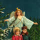 Vintage angel with two little children