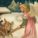 Free vintage Christmas angel card with wagon full of toys