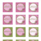 Free square printable pink and green birthday cupcake toppers