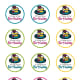 Free circle printable blue, pink, green and yellow birthday cupcake toppers