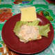 With tuna flakes mixture.