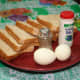 Some of the ingredients: bread, eggs, salt and pepper.