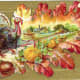 Free vintage Thanksgiving post cards: Turkey and farm scene