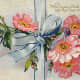 Blue ribbon with pink flowers vintage Valentine's Day cards