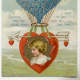 Victorian valentine card with heart hot air balloon