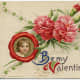 """Vintage portrait with red and pink carnations Valentine's Day card """"Be My Valentine"""""""