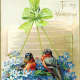 Two birds and blue flowers free valentine greeting card