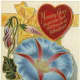 Morning glory free vintage valentine card with ribbon