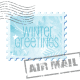 Winter clip art: Winter greetings air mail stamp