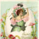 Vintage Easter cards: Victorian woman coming out of an ornate Easter egg