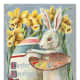 Vintage Easter cards: Easter bunny painting an Easter egg with a baby chick watching