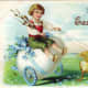 Victorian Easter cards: Little boy riding on giant Easter egg in wagon being pulled by two yellow baby chicks