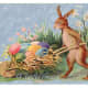 Vintage Easter cards: Easter bunny pushing a wooden cart filled with colored Easter eggs