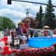 Int'l Falls Mayor Shawn Mason and Fort Frances Mayor Roy Avis re-enact the International Tug of War held July 2nd, 2011....team Canada won.