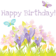 Butterfly and flower Happy Birthday clip art