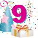9 year old birthday clipart