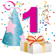 1 year old birthday clipart