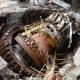 Russian workers at the damaged Sayano-Shushenskaya hydroelectric power plant.    (AP Photo/Vitaly Bezrukikh)