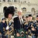 Well known actor Sean Connery, the first 007, with the USAF Reserve Pipe and Drum Band in Washington, DC. Tartan Day 2004.