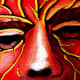 Red devil face paint pattern