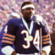 """Walter """"Sweetness"""" Paytone addressing the fans at Soldier Field Stadium"""