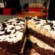 Frozen chocolate cake with creamy vanilla filling