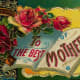 Vintage Mother's Day card: Red roses, horseshoe and book