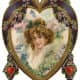 Gold and purple frame and flowers and Victorian woman