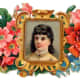 Gold frame and flowers with Victorian woman