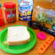 The ingredients to make an alien sandwich.