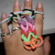 The back side of the hand doing finger looping
