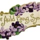 Auld Lang Syne with purple flowers vintage clip art
