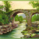 Old Weir Bridge in Killarney, Ireland vintage postcard