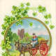 Irish woman in red cart vintage St. Patrick's Day postcard