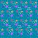 "Starburst and ""Happy Birthday"" scrapbook paper design -- teal background"