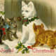 Vintage animal holiday card -- cats with ice sculpture cat