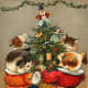 Free vintage dancing dogs and cats Christmas card
