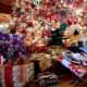 Hawaiian style Christmas wrap. Notice the lauhala boxes.