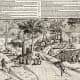 Dutch activities on the shore of Mauritius and,  the first published depiction of Dodo on the left, 1601 engraving