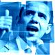 Barack Obama clip art -- thumbs-up blue