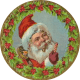 Vintage Christmas images: Santa in a holly wreath