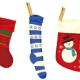 Five Christmas stockings.