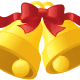 Two golden Christmas bells with red ribbon.